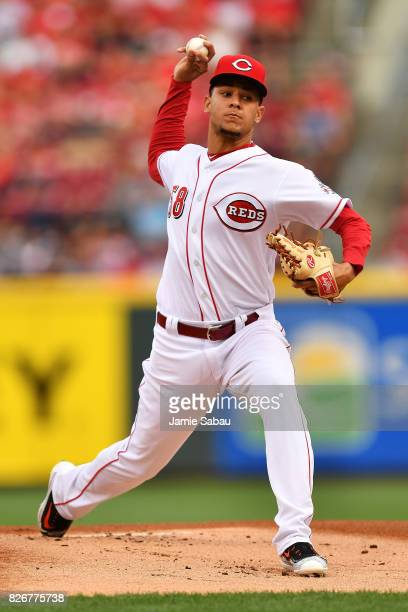 Luis Castillo of the Cincinnati Reds pitches in the first inning against the St Louis Cardinals at Great American Ball Park on August 5 2017 in...