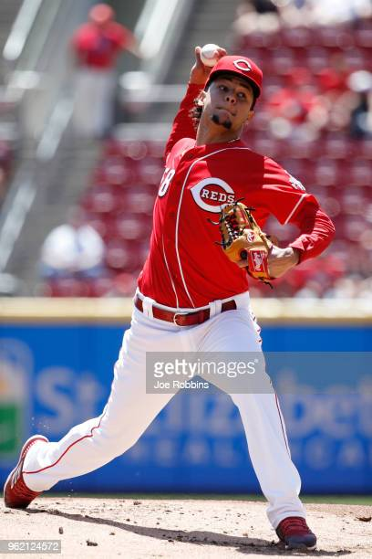 Luis Castillo of the Cincinnati Reds pitches in the first inning against the Pittsburgh Pirates at Great American Ball Park on May 24 2018 in...