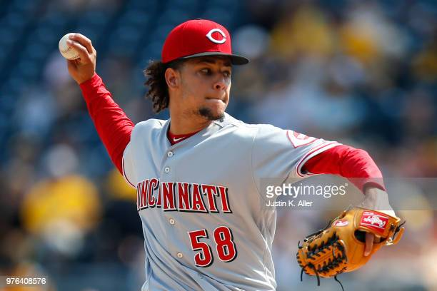Luis Castillo of the Cincinnati Reds pitches in the first inning against the Pittsburgh Pirates at PNC Park on June 16 2018 in Pittsburgh Pennsylvania