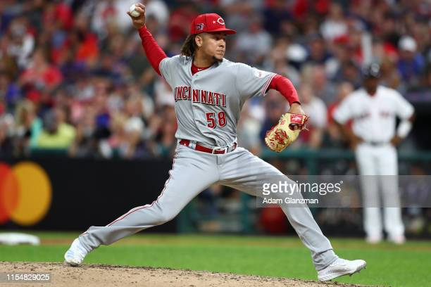 Luis Castillo of the Cincinnati Reds pitches in the fourth inning during the 90th MLB AllStar Game at Progressive Field on Tuesday July 9 2019 in...