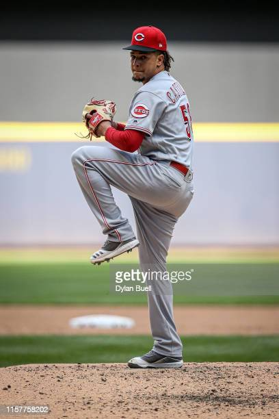Luis Castillo of the Cincinnati Reds pitches in the fourth inning against the Milwaukee Brewers at Miller Park on June 22 2019 in Milwaukee Wisconsin