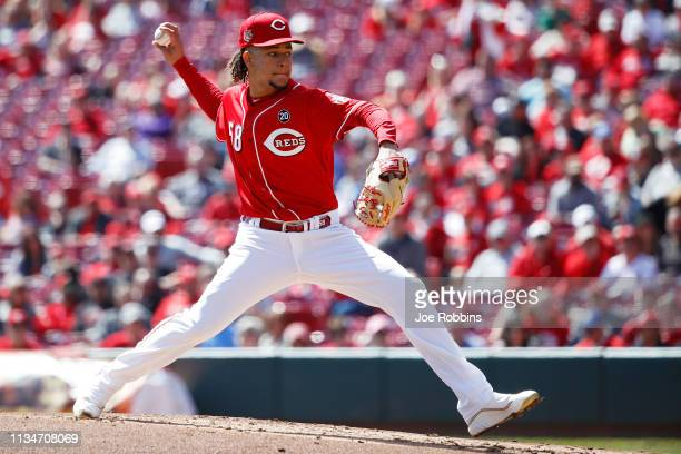 Luis Castillo of the Cincinnati Reds pitches in the second inning against the Milwaukee Brewers at Great American Ball Park on April 3 2019 in...