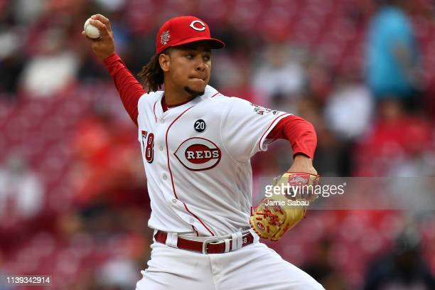 Luis Castillo of the Cincinnati Reds pitches in the second inning against the Atlanta Braves at Great American Ball Park on April 25 2019 in...