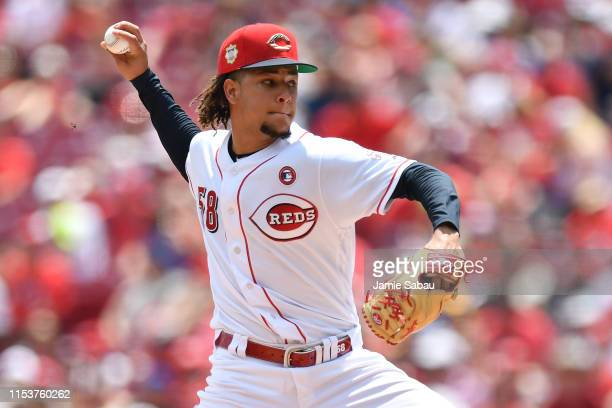 Luis Castillo of the Cincinnati Reds pitches in the second inning against the Milwaukee Brewers at Great American Ball Park on July 4 2019 in...