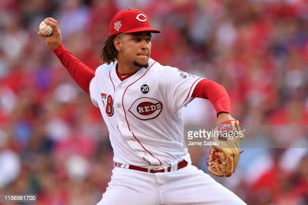 Luis Castillo of the Cincinnati Reds pitches in the second inning against the St Louis Cardinals at Great American Ball Park on July 20 2019 in...