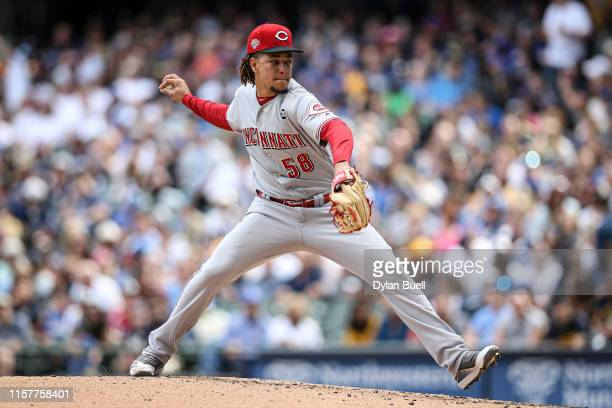 Luis Castillo of the Cincinnati Reds pitches in the second inning against the Milwaukee Brewers at Miller Park on June 22 2019 in Milwaukee Wisconsin