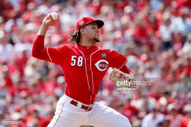 Luis Castillo of the Cincinnati Reds pitches in the second inning against the Milwaukee Brewers at Great American Ball Park on September 26, 2019 in...