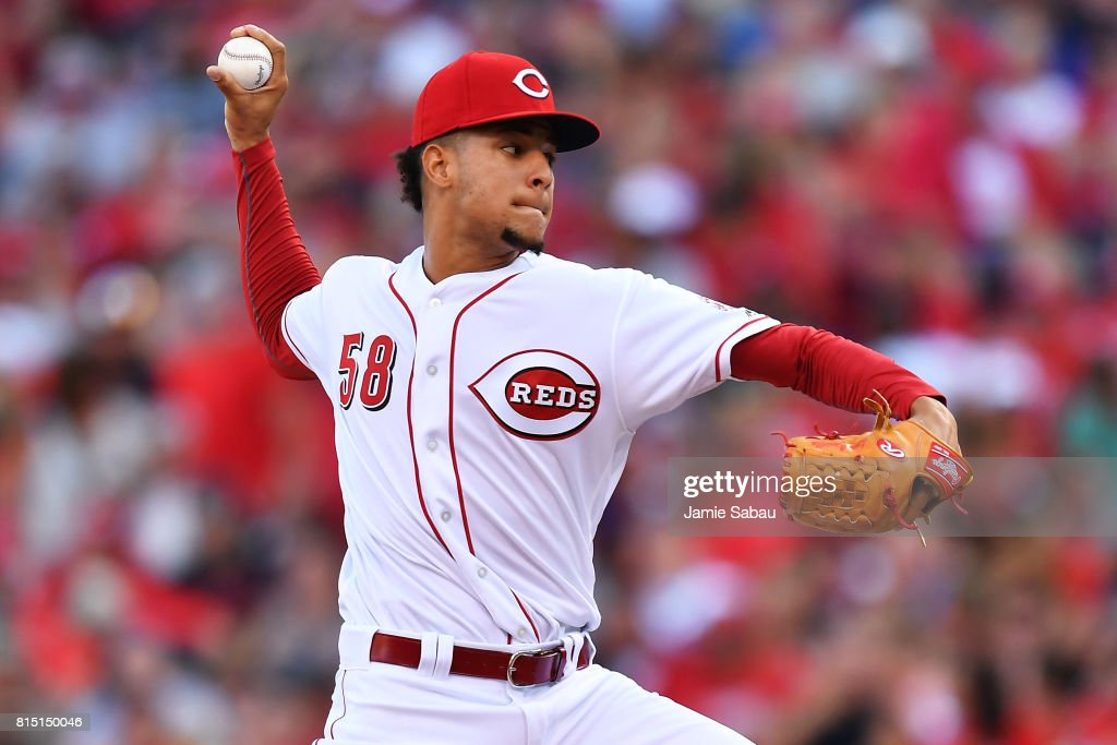 Luis Castillo #58 of the Cincinnati Reds pitches in the second inning against the Washington Nationals at Great American Ball Park on July 15, 2017 in Cincinnati, Ohio.