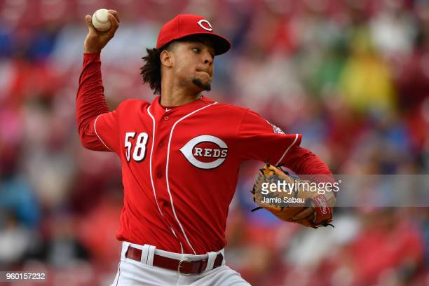 Luis Castillo of the Cincinnati Reds pitches in the second inning against the Chicago Cubs at Great American Ball Park on May 19 2018 in Cincinnati...