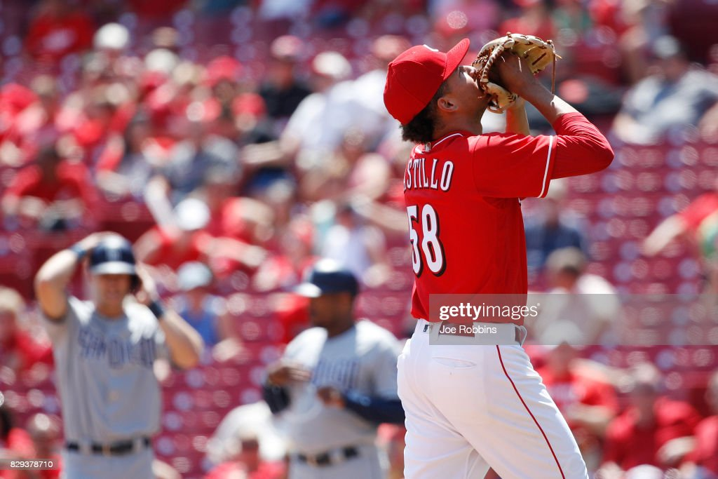 Luis Castillo #58 of the Cincinnati Reds reacts after being taken out of the game in the seventh inning against the San Diego Padres at Great American Ball Park on August 10, 2017 in Cincinnati, Ohio. The Reds defeated the Padres 10-3.