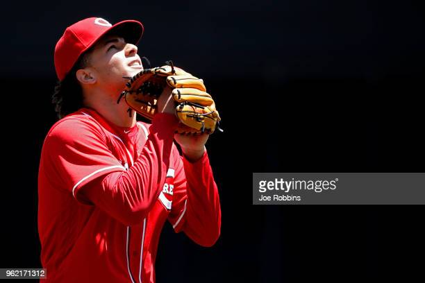 Luis Castillo of the Cincinnati Reds reacts after pitching out of the fifth inning against the Pittsburgh Pirates at Great American Ball Park on May...