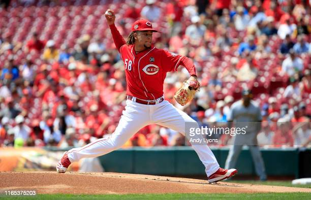 Luis Castillo of the Cincinnati Reds throws a pitch against the Pittsburgh Pirates at Great American Ball Park on July 31 2019 in Cincinnati Ohio