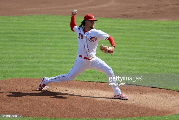 Luis Castillo of the Cincinnati Reds throws a pitch against the Detroit Tigers at Great American Ball Park on July 25, 2020 in Cincinnati, Ohio.