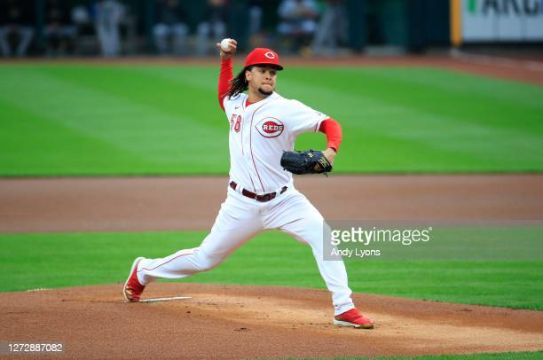 Luis Castillo of the Cincinnati Reds throws a pitch against the Pittsburgh Pirates at Great American Ball Park on September 16, 2020 in Cincinnati,...