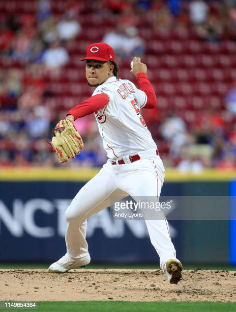 Luis Castillo of the Cincinnati Reds throws a pitch against the Chicago Cubs at Great American Ball Park on May 16, 2019 in Cincinnati, Ohio.