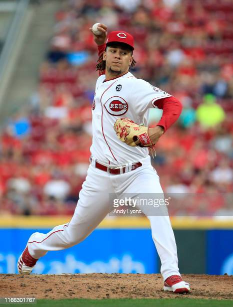 Luis Castillo of the Cincinnati Reds throws a pitch against the Los Angeles Angels of Anaheim at Great American Ball Park on August 05, 2019 in...