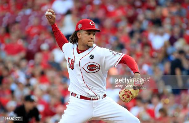Luis Castillo of the Cincinnati Reds throws a pitch against the Los Angeles Angels of Anaheim at Great American Ball Park on August 05 2019 in...