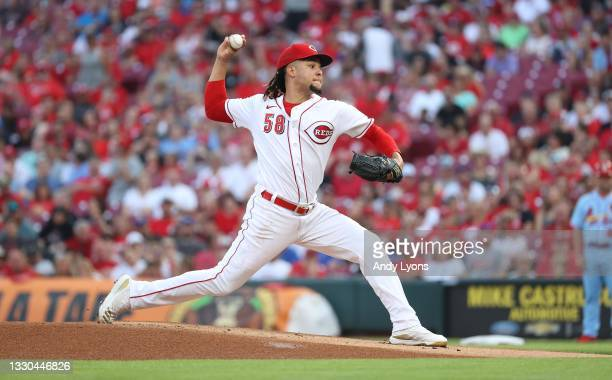 Luis Castillo of the Cincinnati Reds throws a pitch against the St. Louis Cardinals at Great American Ball Park on July 24, 2021 in Cincinnati, Ohio.