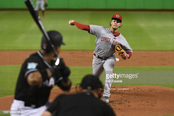 Luis Castillo of the Cincinnati Reds throws a pitch during the first inning against the Miami Marlins at Marlins Park on September 21 2018 in Miami...