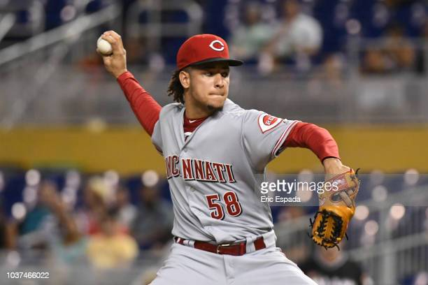 Luis Castillo of the Cincinnati Reds throws a pitch during the second inning against the Miami Marlins at Marlins Park on September 21 2018 in Miami...