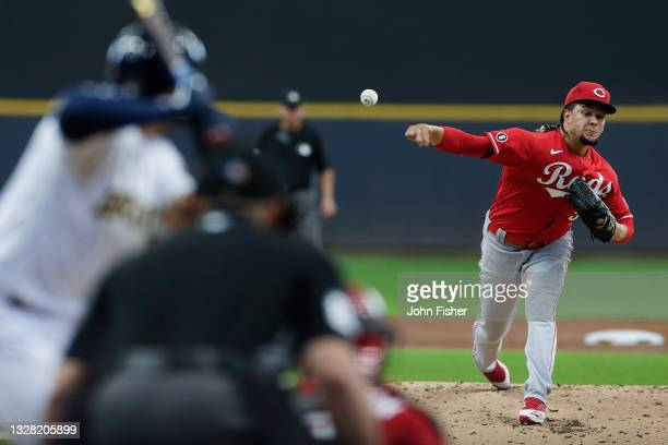 Luis Castillo of the Cincinnati Reds throws a pitch in the first inning against the Milwaukee Brewers at American Family Field on July 11, 2021 in...