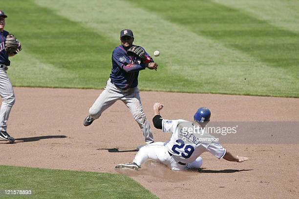 Luis Castillo of the Minnesota Twins completes a double play over Mike Sweeney of the Kansas City Royals at Kauffman Stadium in Kansas City Missouri...