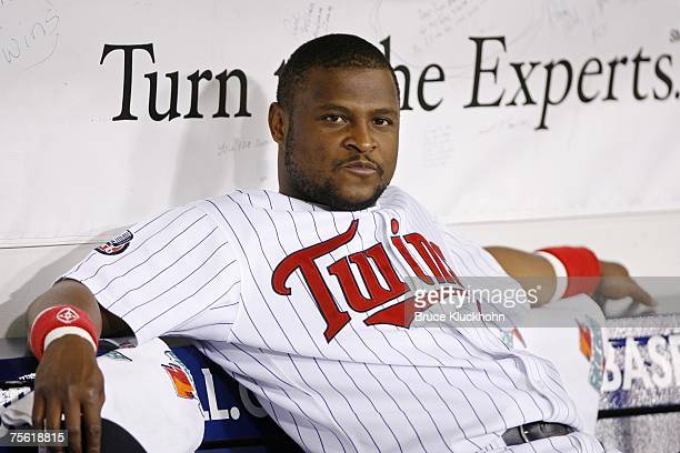 Luis Castillo of the Minnesota Twins rests prior to a game against the Oakland Athletics at the Humphrey Metrodome in Minneapolis Minnesota on July...