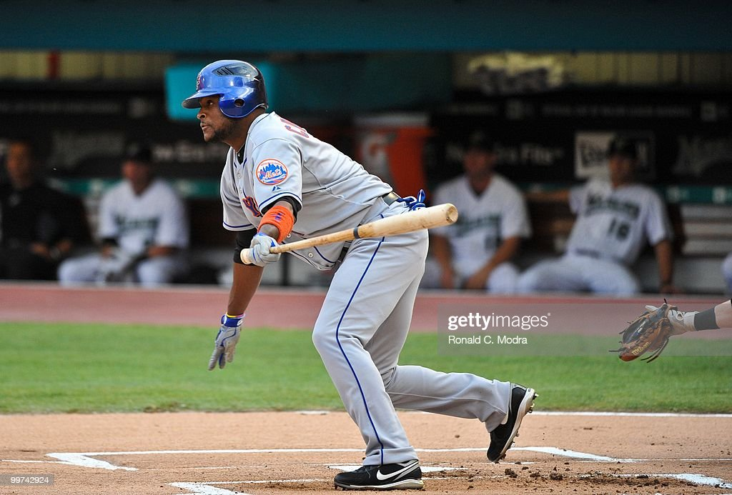 Luis Castillo #1of the New York Mets bats during a MLB game against the Florida Marlins in Sun Life Stadium on May 15, 2010 in Miami, Florida.