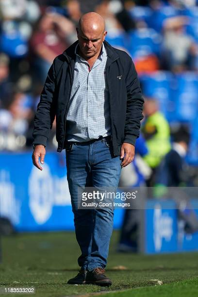 Luis Cesar Sampedro the manager of Deportivo de La Coruna reacts during the La Liga Smartbank match between Deportivo de La Coruna and Malaga CF at...