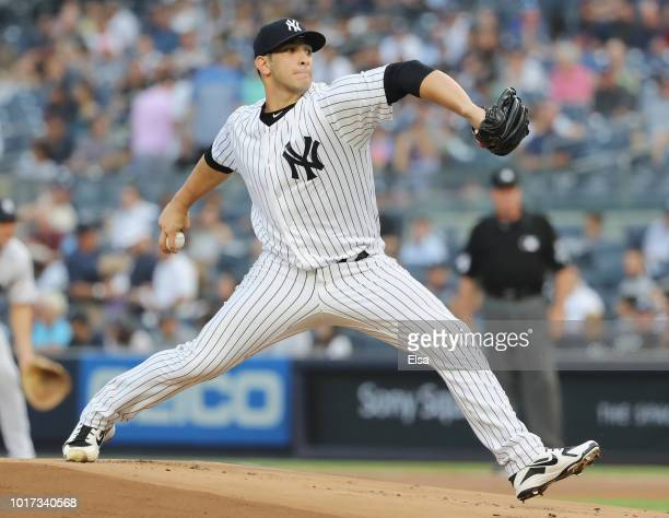 Luis Cessa of the New York Yankees reacts in the second inning against the Tampa Bay Rays at Yankee Stadium on August 15 2018 in the Bronx borough of...