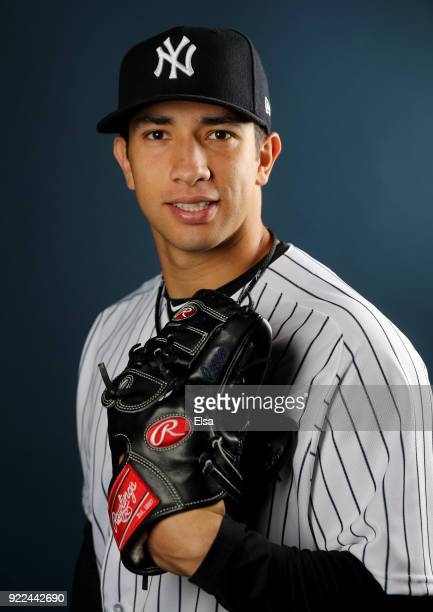 Luis Cessa of the New York Yankees poses for a portrait during the New York Yankees photo day on February 21 2018 at George M Steinbrenner Field in...