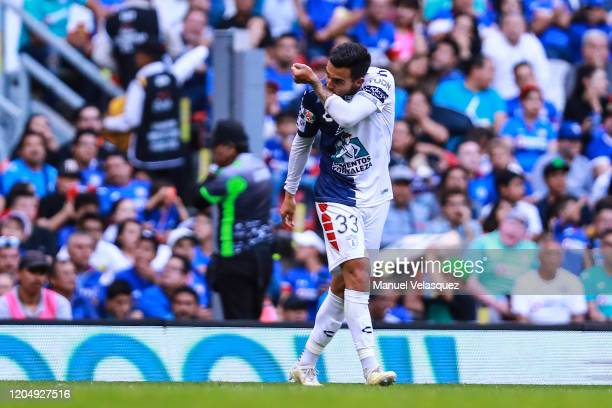 Luis Chavez of Pachuca celebrates the first scored goal of Pachuca during the 5th round match between Cruz Azul and Pachuca as part of the Torneo...