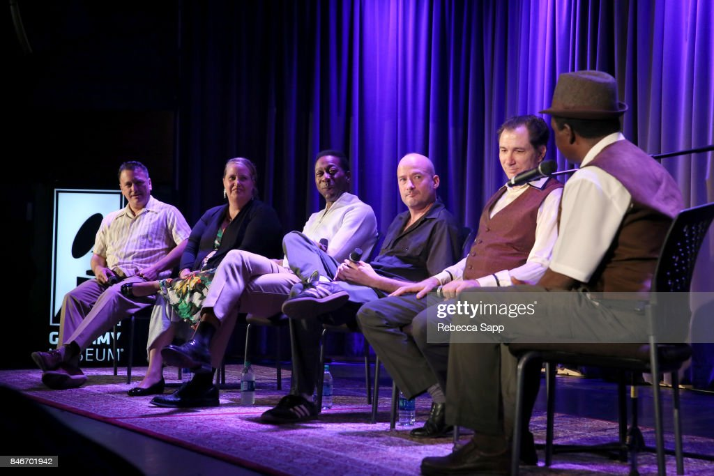 Luis Correa, Persephone 'Queen PÓ Laird, Greg Lee, Brian Dixon and Joey Altruda speak with Junor Francis at History of LA Ska at The GRAMMY Museum on September 13, 2017 in Los Angeles, California.