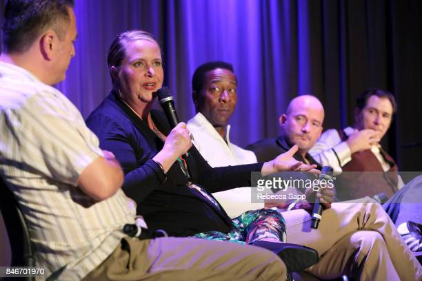 Luis Correa Persephone 'Queen PÓ Laird Greg Lee Brian Dixon and Joey Altruda speak onstage at History of LA Ska at The GRAMMY Museum on September 13...