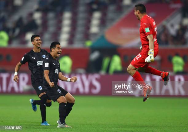 Luis Cárdenas of Monterrey celebrates his sides victory in the penalty shoot out during the FIFA Club World Cup Qatar 2019 3rd place match between...