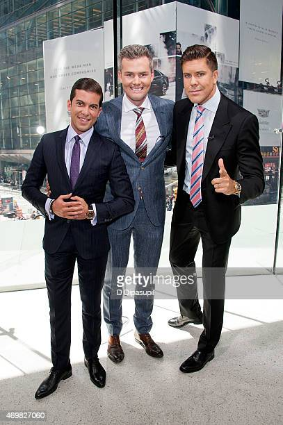 Luis D Ortiz Ryan Serhant and Fredrik Eklund of 'Million Dollar Listing New York' visit 'Extra' at their New York studios at HM in Times Square on...