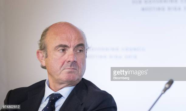 Luis de Guindos vice president of the European Central Bank listens during the ECB rate decision news conference at the Latvian central bank also...