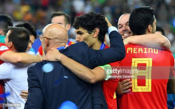 Luis de la Fuente head coach of Spain embraces Jesús Vallejo of Spain during the 2019 UEFA U-21 Final between Spain and Germany at Stadio Friuli on...