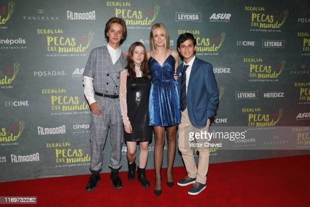 Luis de La Rosa Andrea Sutton Loreto Peralta and Hanssel Casillas attend the red carpet of Todas Las Pecas Del Mundo at Cinepolis Patio Universidad...