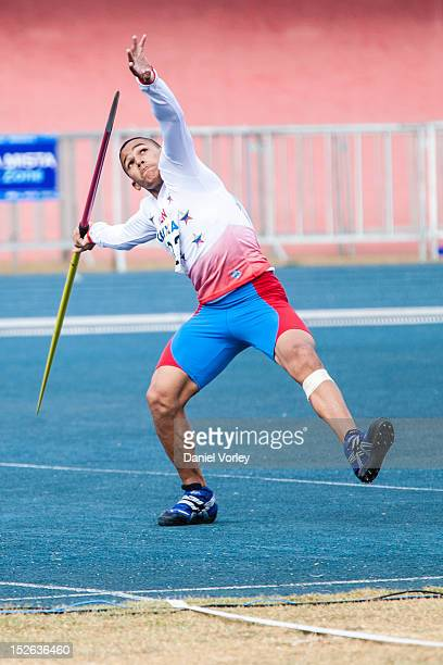 Luis Debia of Venezuela competes in the in the mens javelin throw, event during the second day of the South American Track and Field Championship...