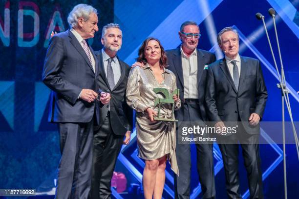 Luis del Olmo Carlos Alsina Pepa Bueno Carlos Herrera and Iñaki Gabilondo attend the 66th Ondas Awards 2019 Gala held at the Gran Teatre del Liceu on...