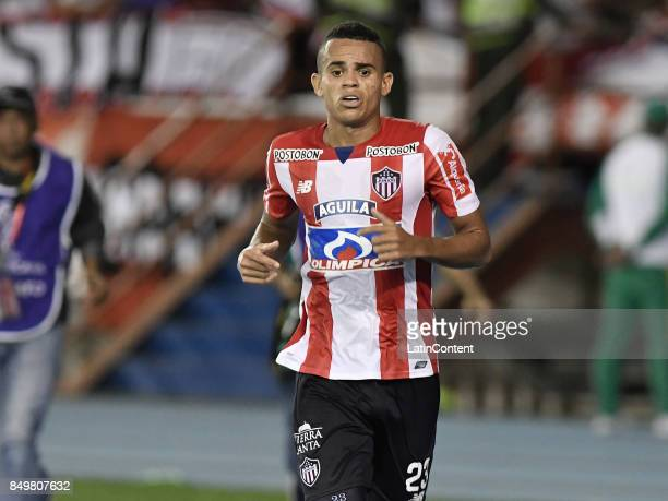 Luis Diaz Marulanda of Junior celebrates after scoring the first goal of his team during a second leg match between Junior and Cerro Porteño as part...