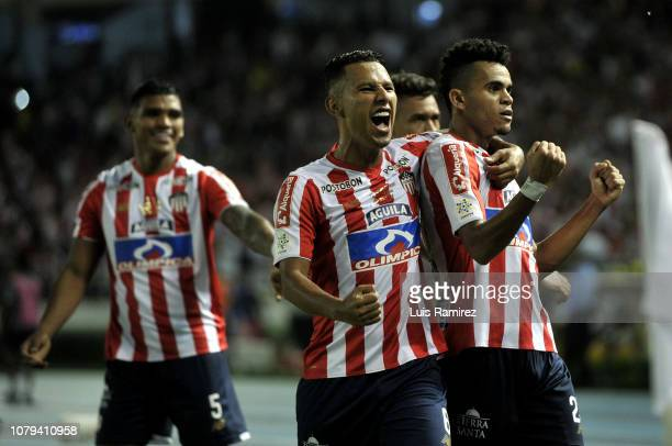 Luis Diaz of Atletico Junior celebrates after scoring the first goal of his team during the first leg final match between Junior and Independiente...