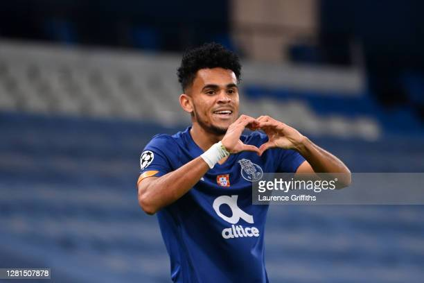Luis Diaz of FC Porto celebrates after scoring his team's first goal during the UEFA Champions League Group C stage match between Manchester City and...