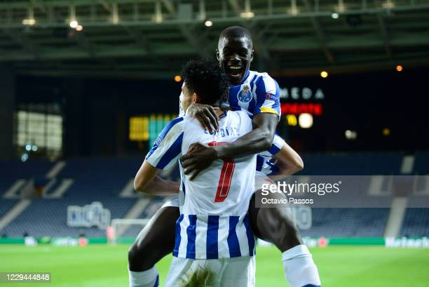 Luis Diaz of FC Porto celebrates after scoring the third goal during the UEFA Champions League Group C stage match between FC Porto and Olympique de...