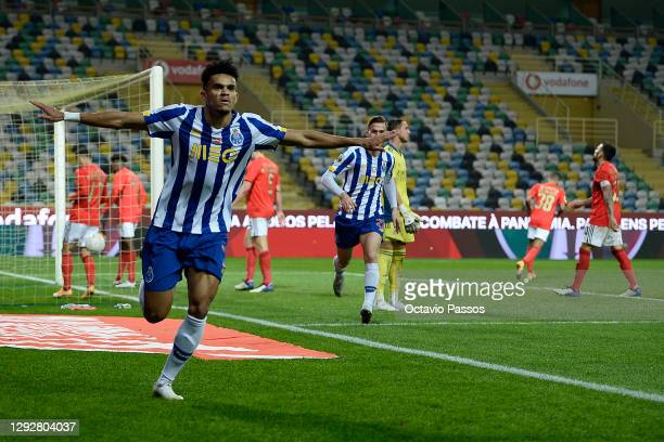 Luis Diaz of FC Porto celebrates after scoring their sides second goal during the Portuguese Super Cup final between FC Porto and SL Benfica at...