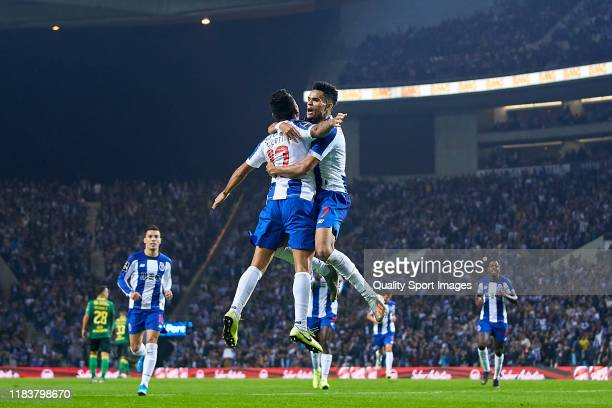 Luis Diaz of FC Porto celebrates with Jesus Corona after scoring his team's first goal during the Liga Nos match berween FC Porto and FC Famalicao at...