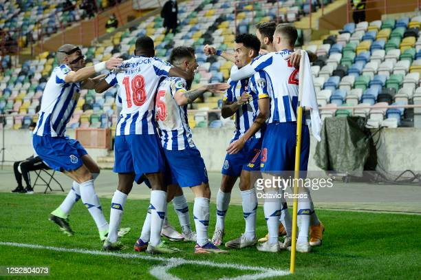 Luis Diaz of FC Porto celebrates with team mates after scoring their sides second goal during the Portuguese Super Cup final between FC Porto and SL...