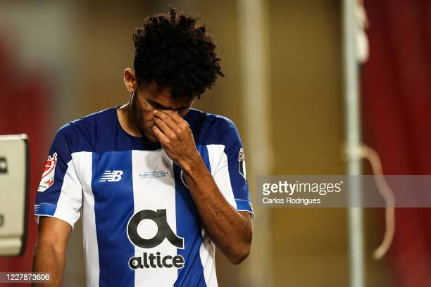 Luis Diaz of FC Porto reacts after he is given a red card and sent off during the Portuguese Cup Final match between SL Benfica and FC Porto at...