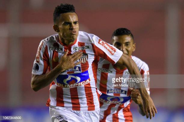Luis Diaz of Junior celebrates after scoring the qualifying goal during a Quarter Final second leg match between Defensa y Justicia and Junior as...